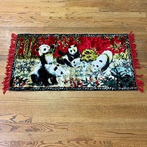 Vintage Swan Velveteen Tapestry of Pandas